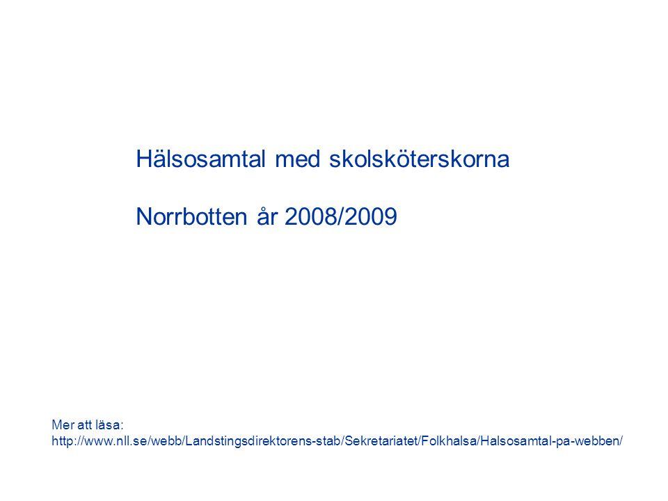 Hälsosamtal med skolsköterskorna Norrbotten år 2008/2009 Mer att läsa: http://www.nll.se/webb/Landstingsdirektorens-stab/Sekretariatet/Folkhalsa/Halsosamtal-pa-webben/