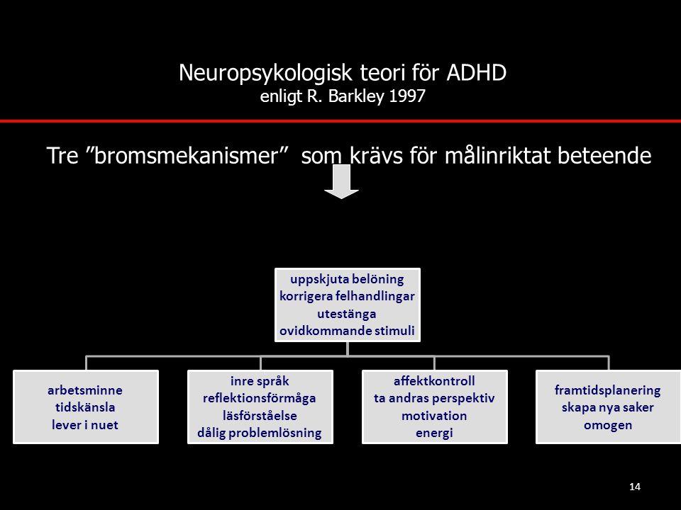 """14 Neuropsykologisk teori för ADHD enligt R. Barkley 1997 Tre """"bromsmekanismer"""" som krävs för målinriktat beteende"""