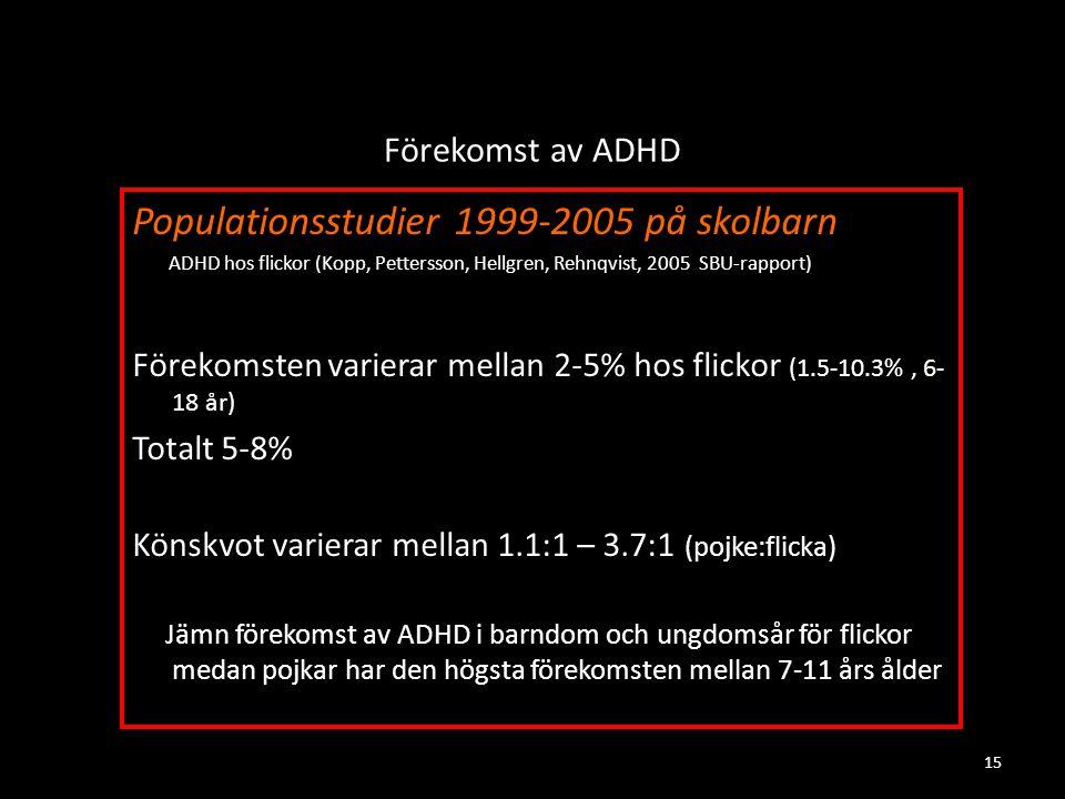 Förekomst av ADHD Populationsstudier 1999-2005 på skolbarn ADHD hos flickor (Kopp, Pettersson, Hellgren, Rehnqvist, 2005 SBU-rapport) Förekomsten varierar mellan 2-5% hos flickor (1.5-10.3%, 6- 18 år) Totalt 5-8% Könskvot varierar mellan 1.1:1 – 3.7:1 (pojke:flicka) Jämn förekomst av ADHD i barndom och ungdomsår för flickor medan pojkar har den högsta förekomsten mellan 7-11 års ålder 15