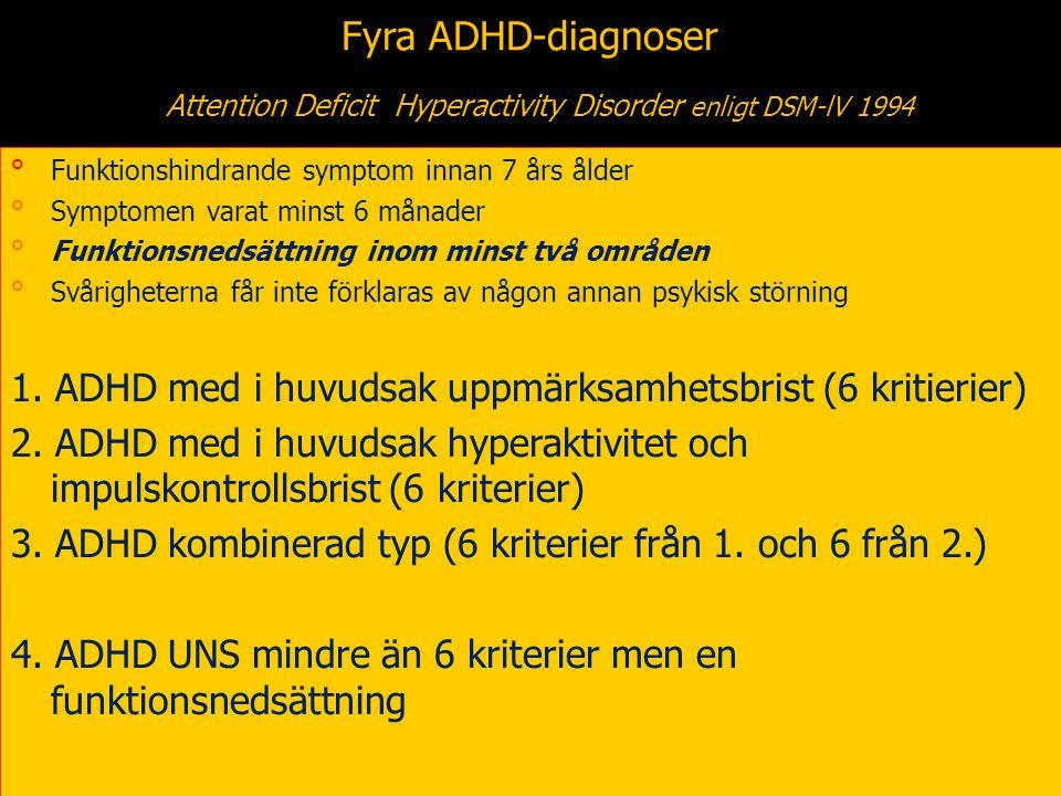 9 Fyra ADHD-diagnoser Attention Deficit Hyperactivity Disorder enligt DSM-lV 1994 °Funktionshindrande symptom innan 7 års ålder °Symptomen varat minst 6 månader °Funktionsnedsättning inom minst två områden °Svårigheterna får inte förklaras av någon annan psykisk störning 1.