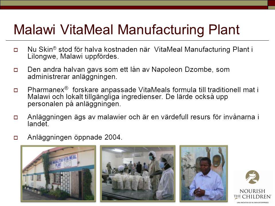 Malawi VitaMeal Manufacturing Plant  Nu Skin ® stod för halva kostnaden när VitaMeal Manufacturing Plant i Lilongwe, Malawi uppfördes.  Den andra ha