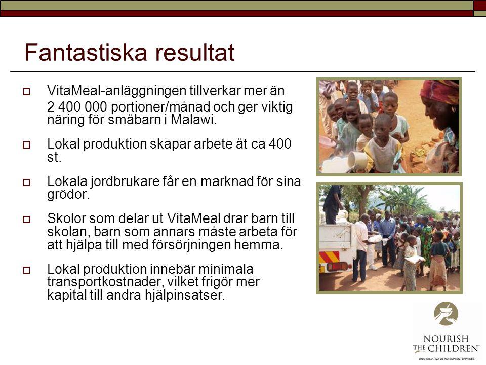Fantastiska resultat  VitaMeal-anläggningen tillverkar mer än 2 400 000 portioner/månad och ger viktig näring för småbarn i Malawi.