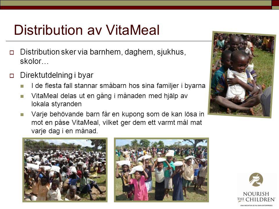 Distribution av VitaMeal  Distribution sker via barnhem, daghem, sjukhus, skolor…  Direktutdelning i byar I de flesta fall stannar småbarn hos sina familjer i byarna VitaMeal delas ut en gång i månaden med hjälp av lokala styranden Varje behövande barn får en kupong som de kan lösa in mot en påse VitaMeal, vilket ger dem ett varmt mål mat varje dag i en månad.