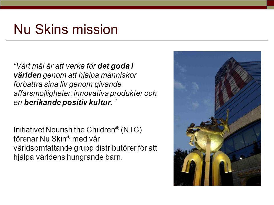 """Nu Skins mission """"Vårt mål är att verka för det goda i världen genom att hjälpa människor förbättra sina liv genom givande affärsmöjligheter, innovati"""