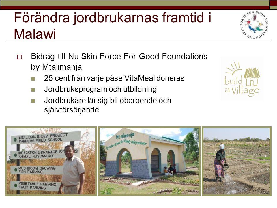 Förändra jordbrukarnas framtid i Malawi  Bidrag till Nu Skin Force For Good Foundations by Mtalimanja 25 cent från varje påse VitaMeal doneras Jordbruksprogram och utbildning Jordbrukare lär sig bli oberoende och självförsörjande