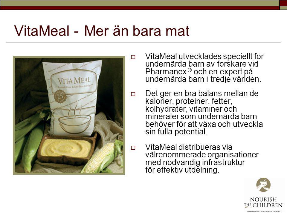 VitaMeal - Mer än bara mat  VitaMeal utvecklades speciellt för undernärda barn av forskare vid Pharmanex ® och en expert på undernärda barn i tredje världen.