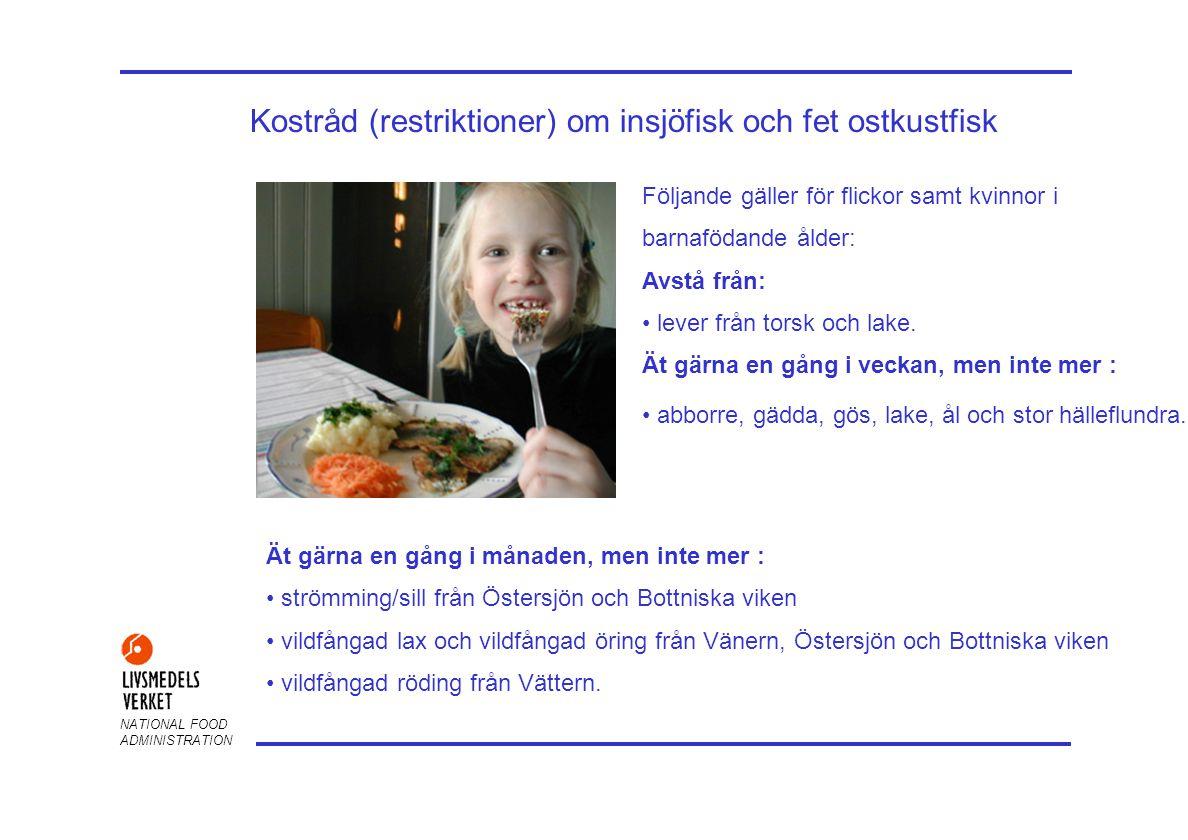 NATIONAL FOOD ADMINISTRATION Kostråd (restriktioner) om insjöfisk och fet ostkustfisk Följande gäller för flickor samt kvinnor i barnafödande ålder: Avstå från: lever från torsk och lake.