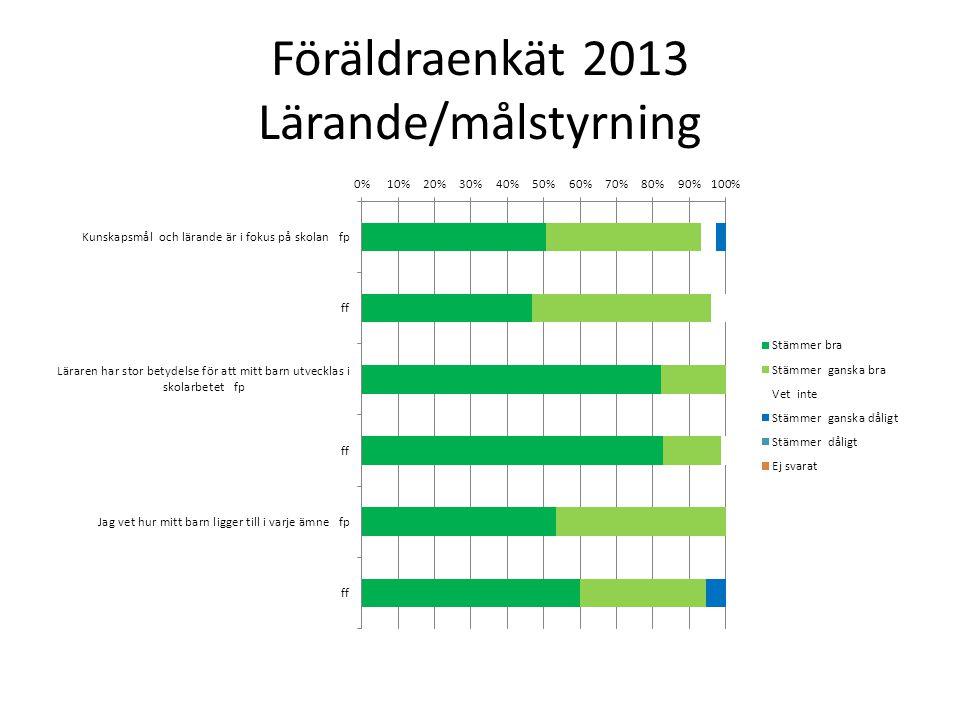 Föräldraenkät 2013 Lärande/målstyrning