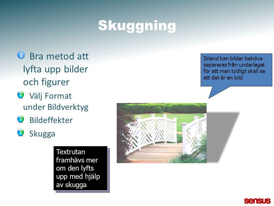 Skuggning Bra metod att lyfta upp bilder och figurer Välj Format under Bildverktyg Bildeffekter Skugga Textrutan framhävs mer om den lyfts upp med hjä