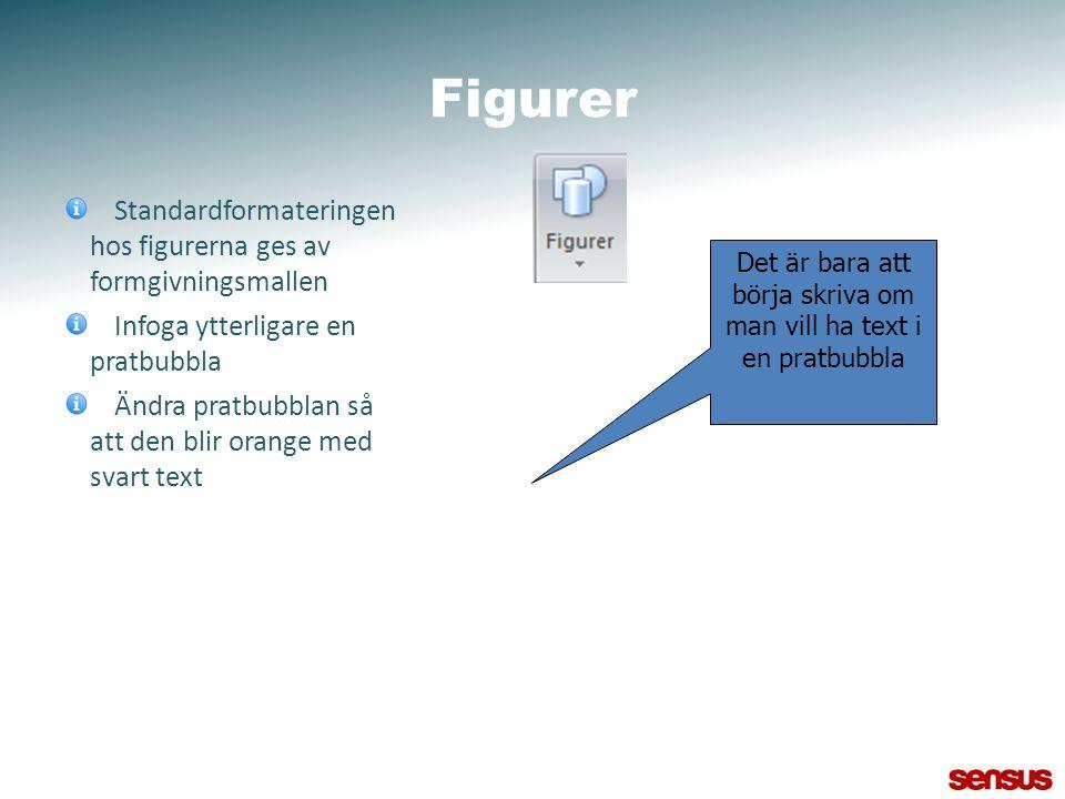 Figurer Standardformateringen hos figurerna ges av formgivningsmallen Infoga ytterligare en pratbubbla Ändra pratbubblan så att den blir orange med sv