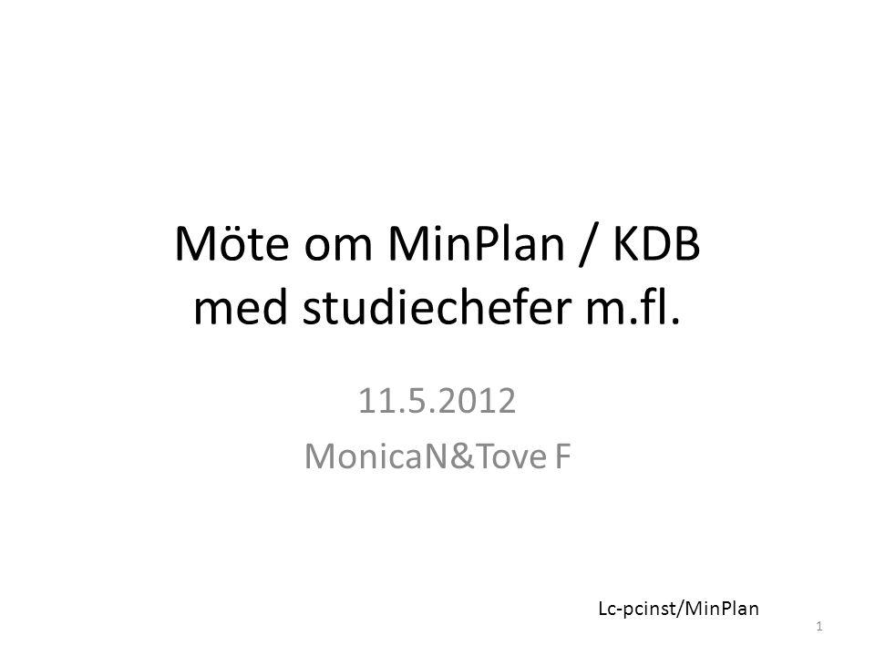 Möte om MinPlan / KDB med studiechefer m.fl. 11.5.2012 MonicaN&Tove F 1 Lc-pcinst/MinPlan