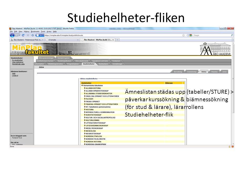 Studiehelheter-fliken Ämneslistan städas upp (tabeller/STURE) > påverkar kurssökning & biämnessökning (för stud & lärare), lärarrollens Studiehelheter-flik