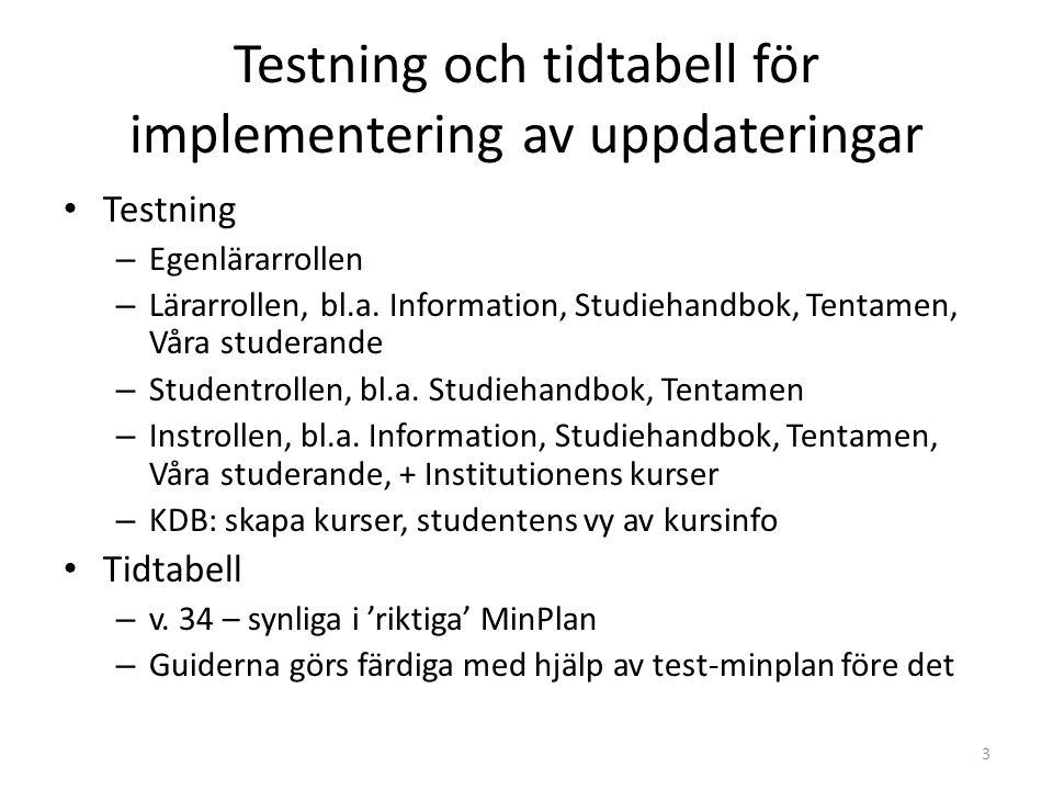Testning och tidtabell för implementering av uppdateringar Testning – Egenlärarrollen – Lärarrollen, bl.a.