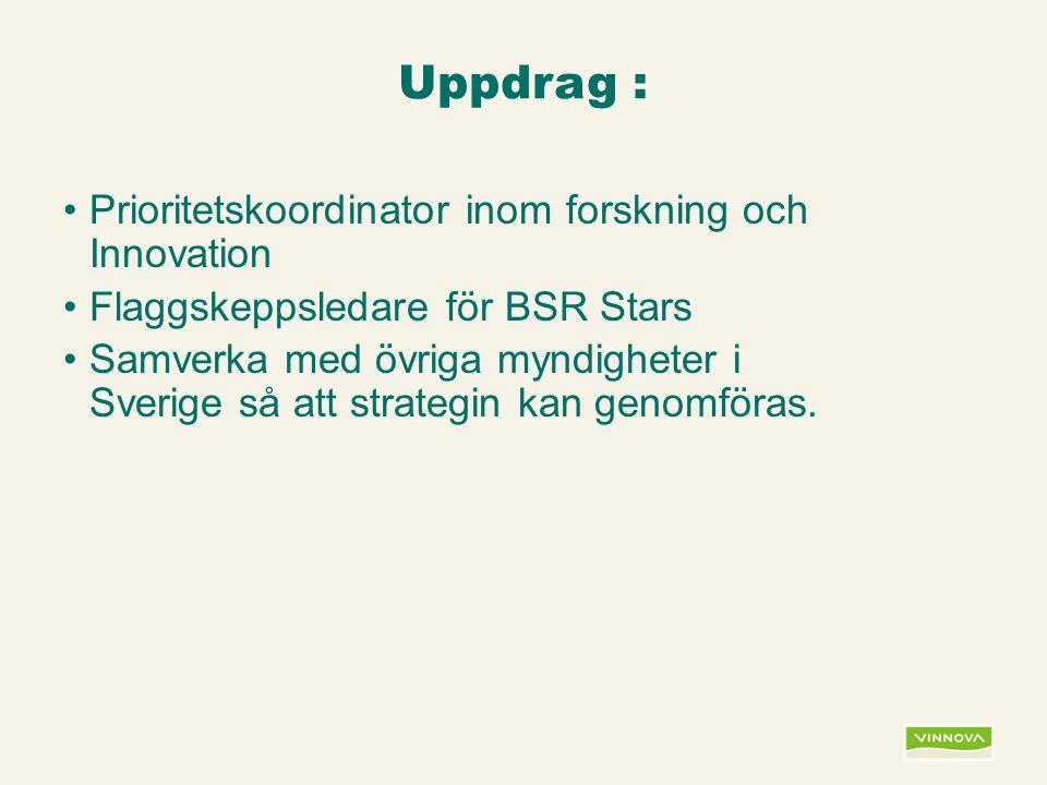 Infogad sidfot, datum och sidnummer syns bara i utskrift (infoga genom fliken Infoga -> Sidhuvud/sidfot) Uppdrag : Prioritetskoordinator inom forskning och Innovation Flaggskeppsledare för BSR Stars Samverka med övriga myndigheter i Sverige så att strategin kan genomföras.