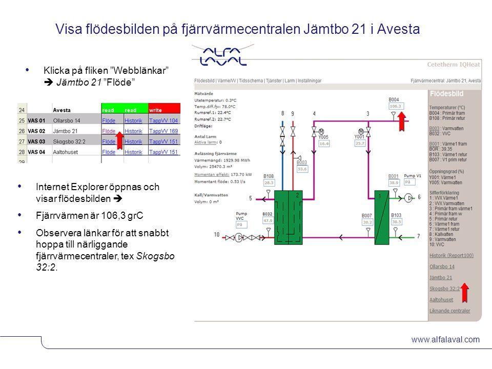 """www.alfalaval.com © Alfa LavalSlide 5 Visa flödesbilden på fjärrvärmecentralen Jämtbo 21 i Avesta Klicka på fliken """"Webblänkar""""  Jämtbo 21 """"Flöde"""" In"""