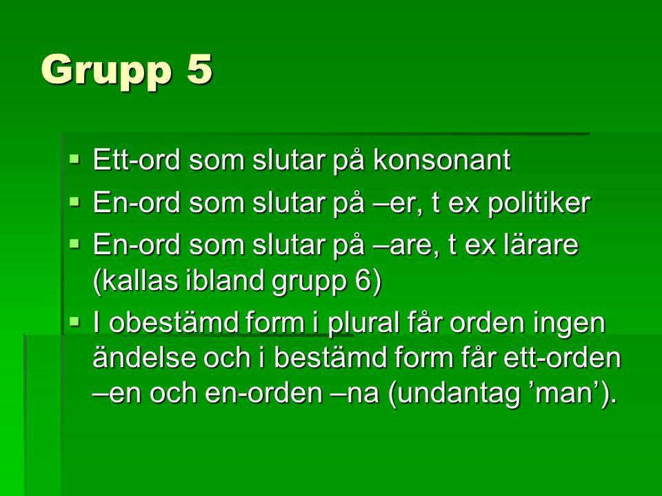 Grupp 5  Ett-ord som slutar på konsonant  En-ord som slutar på –er, t ex politiker  En-ord som slutar på –are, t ex lärare (kallas ibland grupp 6)