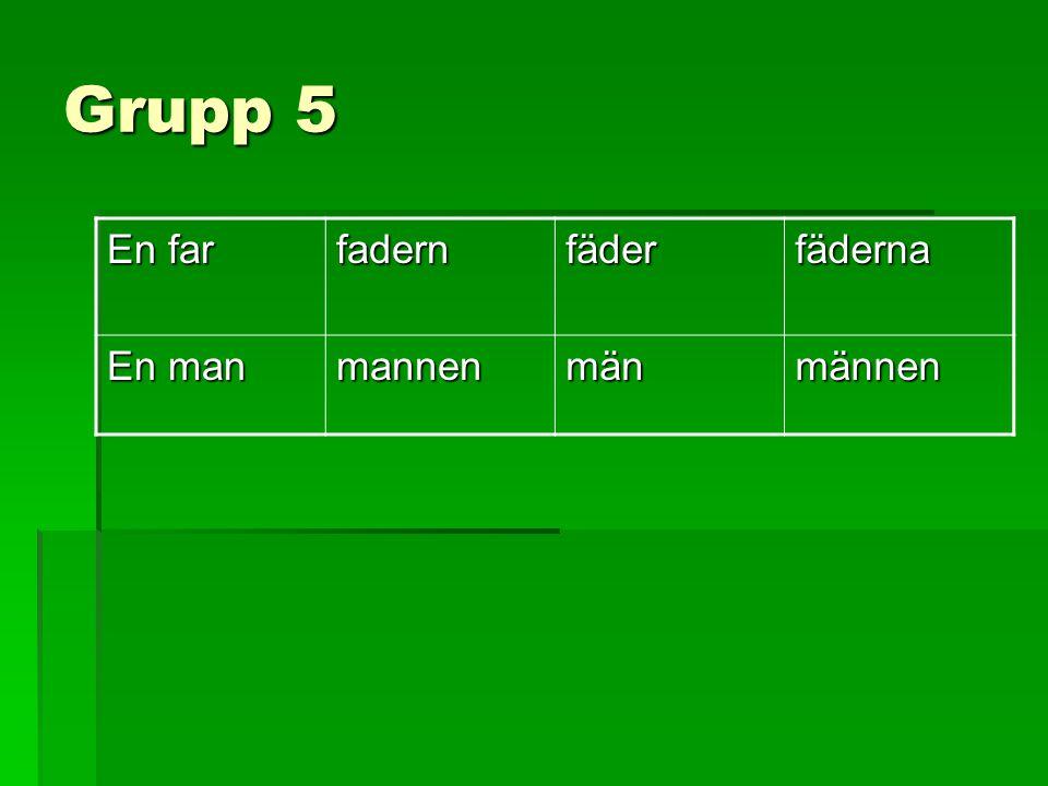 Grupp 5 En far fadernfäderfäderna En man mannenmänmännen