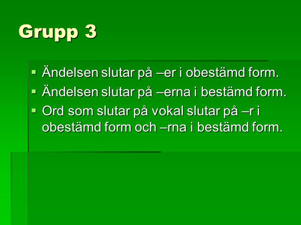 Grupp 3  Ändelsen slutar på –er i obestämd form.  Ändelsen slutar på –erna i bestämd form.  Ord som slutar på vokal slutar på –r i obestämd form oc