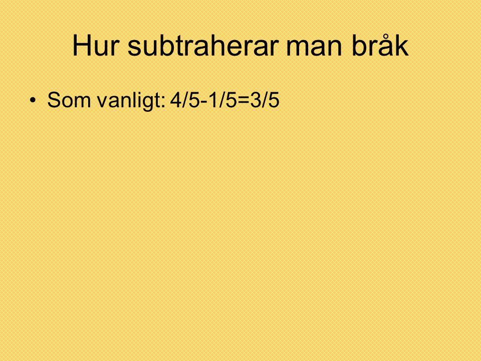 Hur subtraherar man bråk Som vanligt: 4/5-1/5=3/5