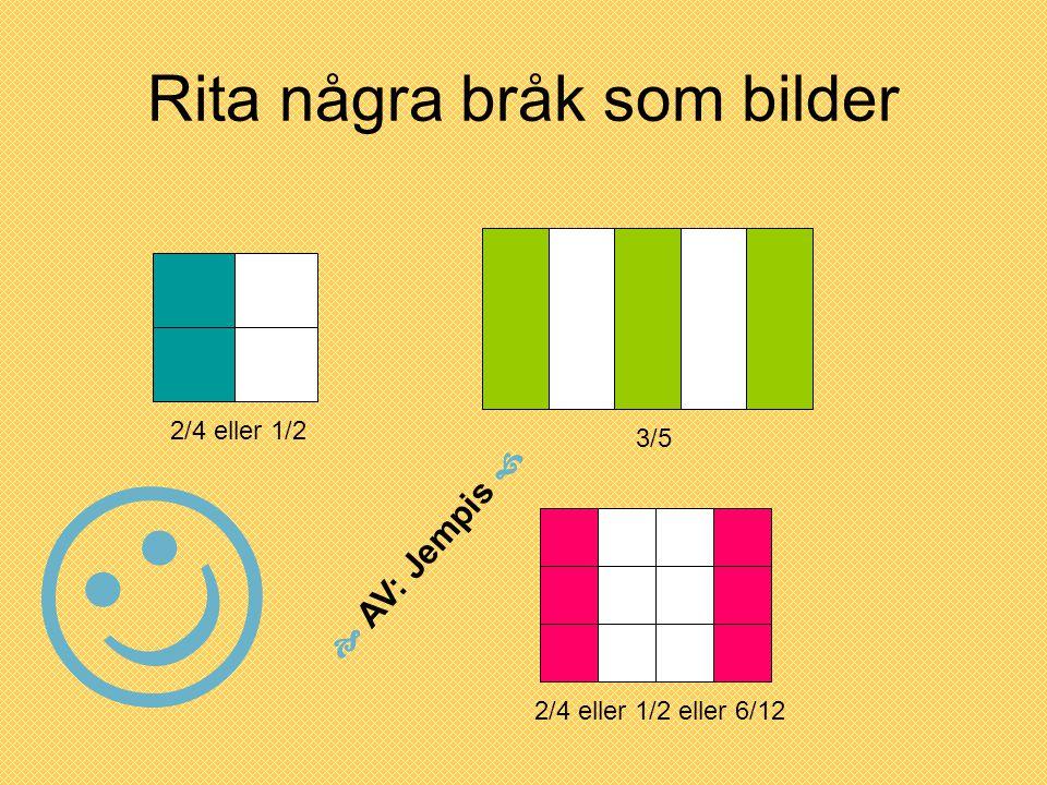 Rita några bråk som bilder 2/4 eller 1/2 3/5 2/4 eller 1/2 eller 6/12  AV: Jempis 