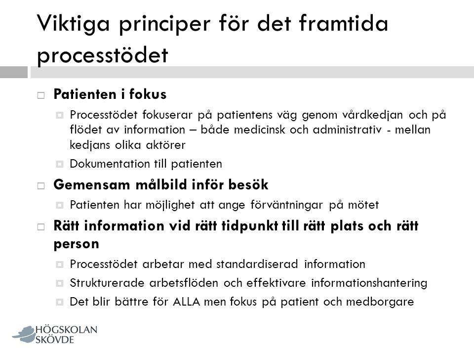 Viktiga principer för det framtida processtödet  Patienten i fokus  Processtödet fokuserar på patientens väg genom vårdkedjan och på flödet av infor