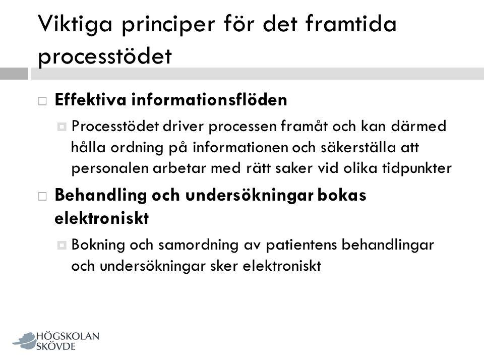 Viktiga principer för det framtida processtödet  Effektiva informationsflöden  Processtödet driver processen framåt och kan därmed hålla ordning på
