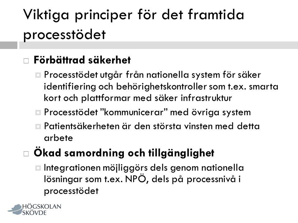 Viktiga principer för det framtida processtödet  Förbättrad säkerhet  Processtödet utgår från nationella system för säker identifiering och behörigh