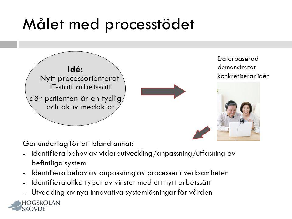 Målet med processtödet Idé: Nytt processorienterat IT-stött arbetssätt där patienten är en tydlig och aktiv medaktör Datorbaserad demonstrator konkret
