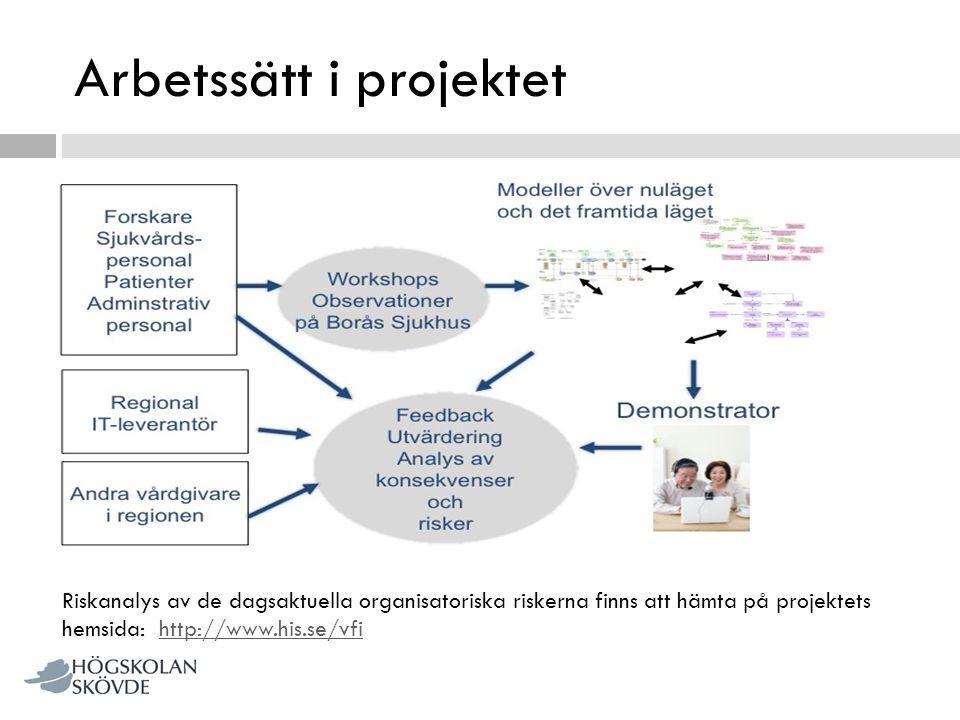 Arbetssätt i projektet Riskanalys av de dagsaktuella organisatoriska riskerna finns att hämta på projektets hemsida: http://www.his.se/vfihttp://www.h