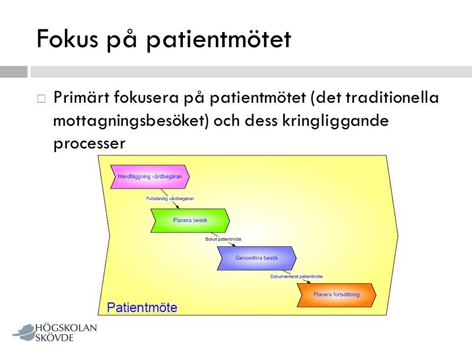 Fokus på patientmötet  Primärt fokusera på patientmötet (det traditionella mottagningsbesöket) och dess kringliggande processer