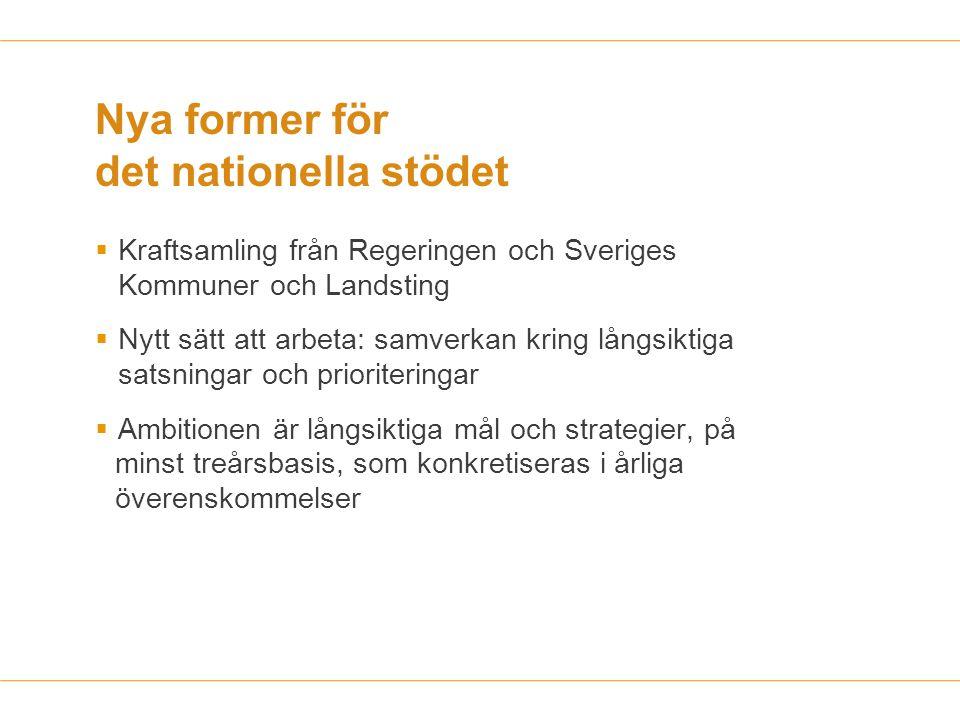Nya former för det nationella stödet  Kraftsamling från Regeringen och Sveriges Kommuner och Landsting  Nytt sätt att arbeta: samverkan kring långsi