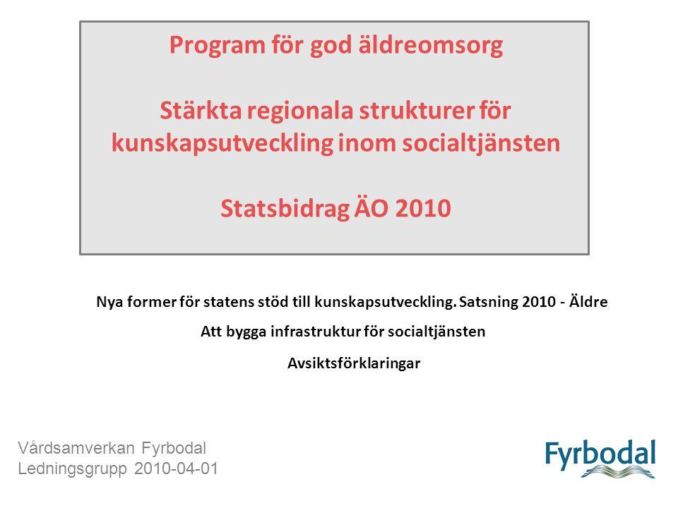 Program för god äldreomsorg Stärkta regionala strukturer för kunskapsutveckling inom socialtjänsten Statsbidrag ÄO 2010 Att bygga infrastruktur för socialtjänsten Nya former för statens stöd till kunskapsutveckling.