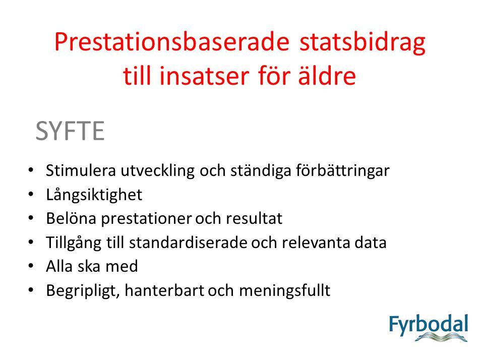 Prestationsbaserade statsbidrag till insatser för äldre SYFTE Stimulera utveckling och ständiga förbättringar Långsiktighet Belöna prestationer och resultat Tillgång till standardiserade och relevanta data Alla ska med Begripligt, hanterbart och meningsfullt