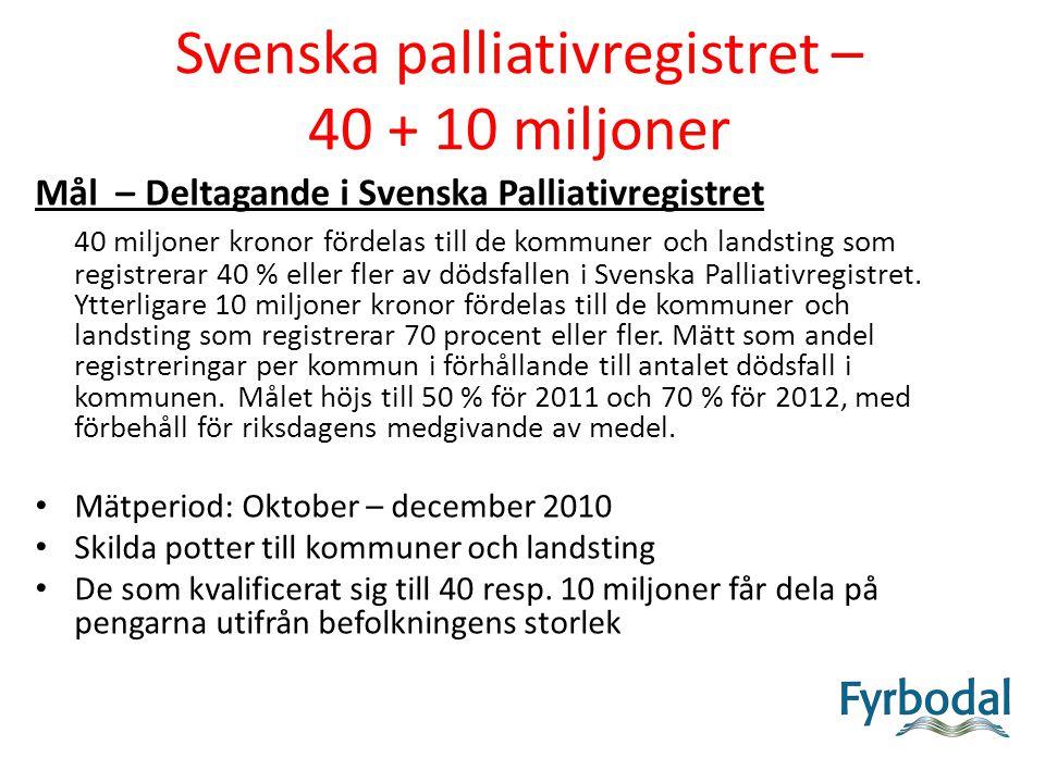 Svenska palliativregistret – 40 + 10 miljoner Mål – Deltagande i Svenska Palliativregistret 40 miljoner kronor fördelas till de kommuner och landsting som registrerar 40 % eller fler av dödsfallen i Svenska Palliativregistret.