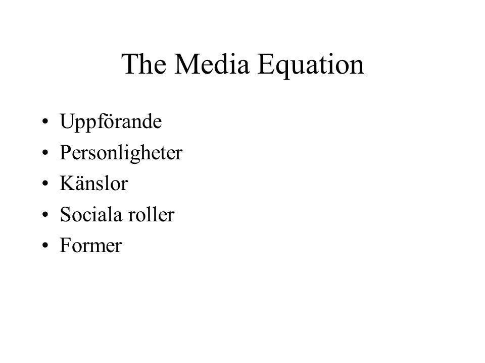 The Media Equation Uppförande Personligheter Känslor Sociala roller Former