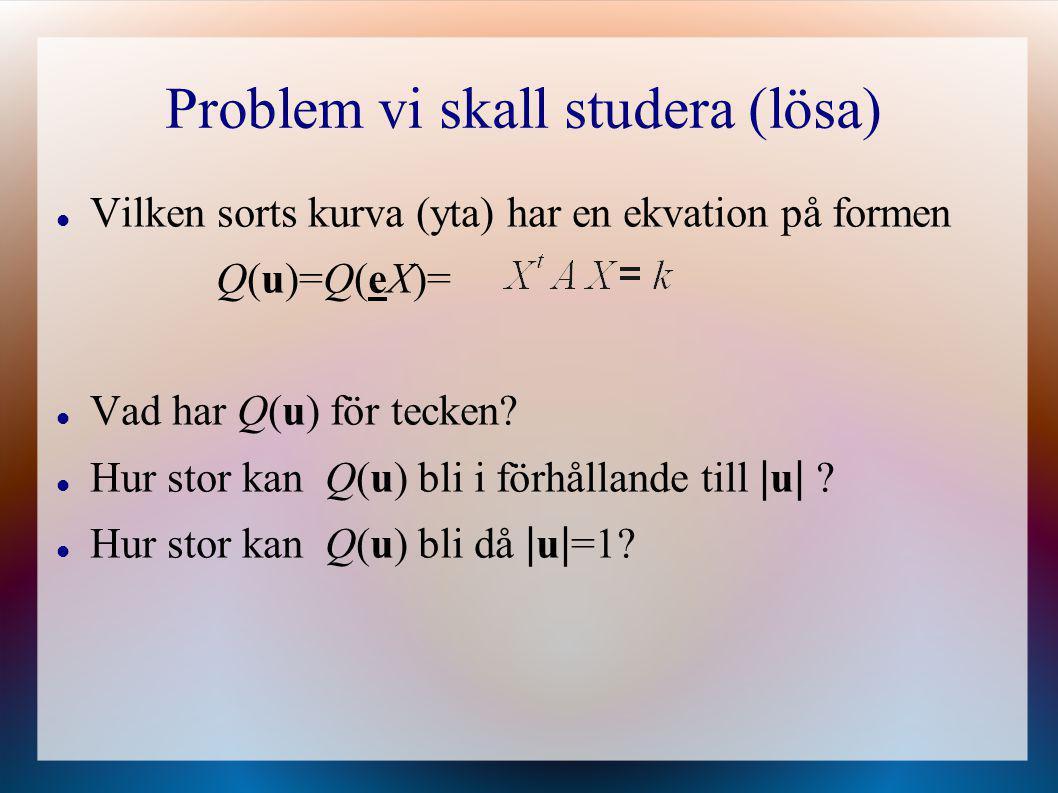 Problem vi skall studera (lösa) Vilken sorts kurva (yta) har en ekvation på formen Q(u)=Q(eX)= Vad har Q(u) för tecken? Hur stor kan Q(u) bli i förhål