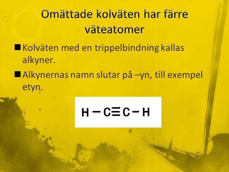 Kolväten med en trippelbindning kallas alkyner. Alkynernas namn slutar på –yn, till exempel etyn.