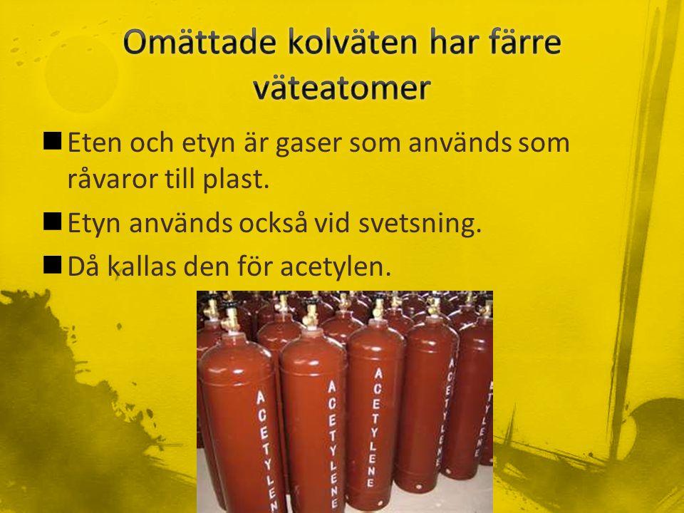 Eten och etyn är gaser som används som råvaror till plast.
