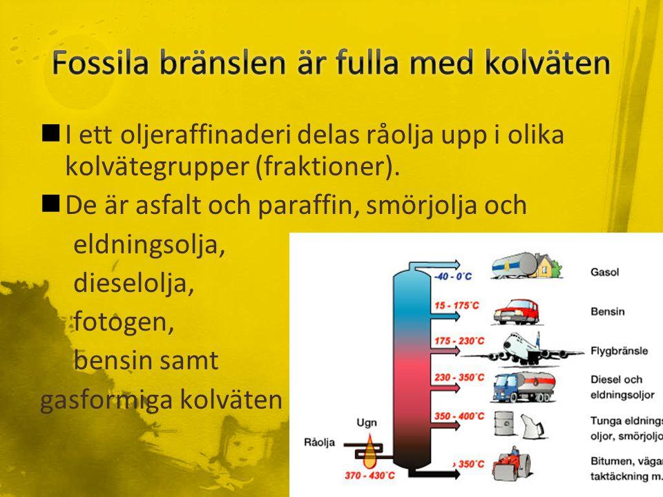 I ett oljeraffinaderi delas råolja upp i olika kolvätegrupper (fraktioner).