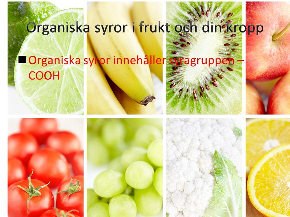 Organiska syror innehåller syragruppen – COOH