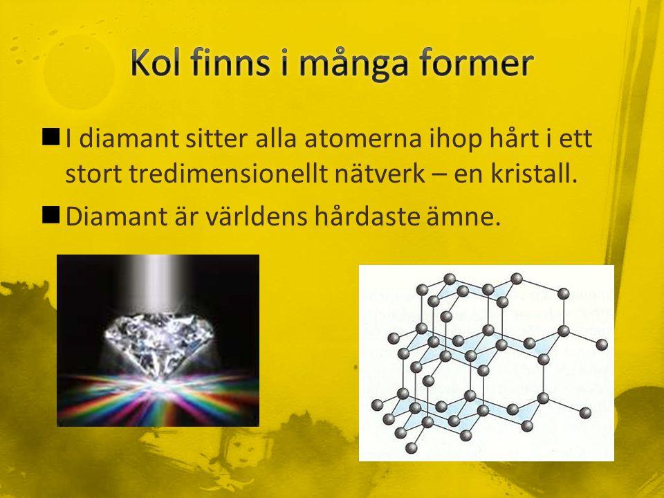 I diamant sitter alla atomerna ihop hårt i ett stort tredimensionellt nätverk – en kristall.