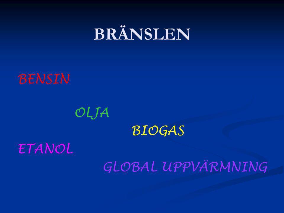 BRÄNSLEN BENSIN OLJA BIOGAS ETANOL GLOBAL UPPVÄRMNING