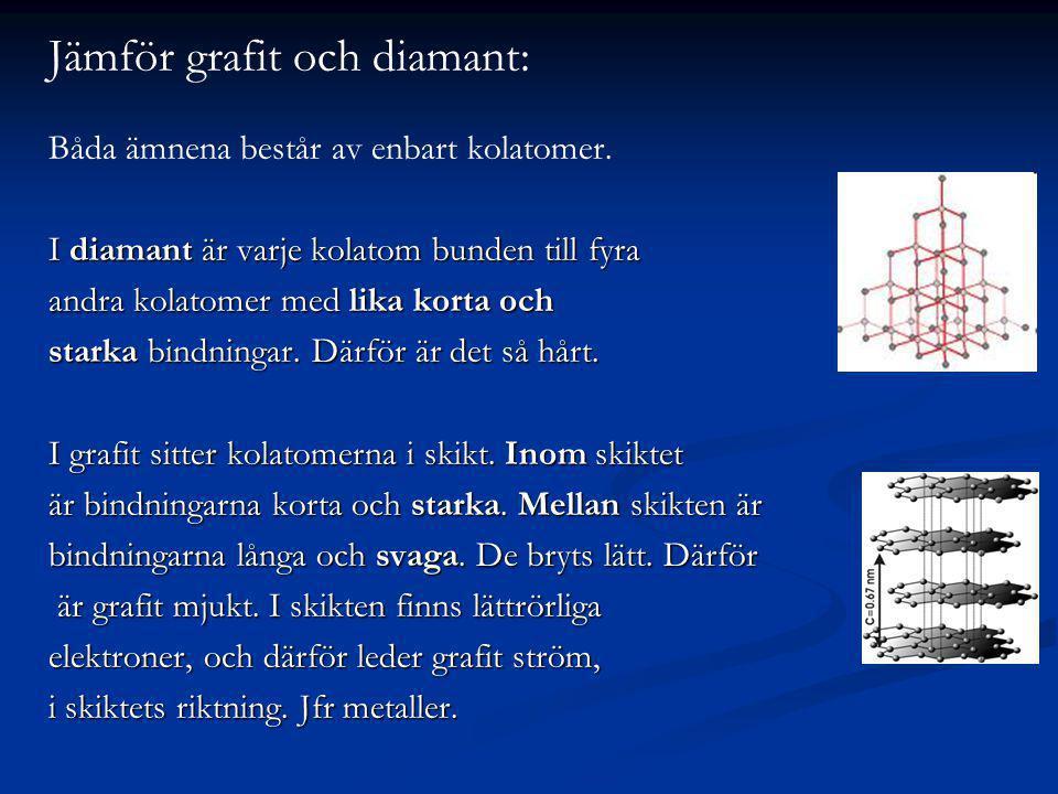 Jämför grafit och diamant: Båda ämnena består av enbart kolatomer. I diamant är varje kolatom bunden till fyra andra kolatomer med lika korta och star