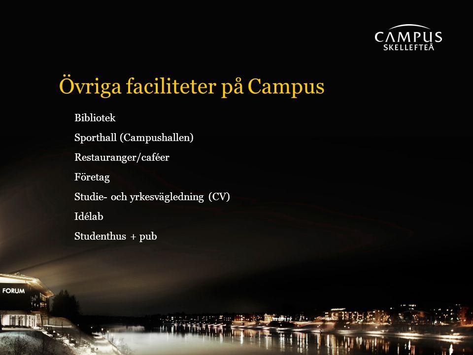 Övriga faciliteter på Campus Bibliotek Sporthall (Campushallen) Restauranger/caféer Företag Studie- och yrkesvägledning (CV) Idélab Studenthus + pub