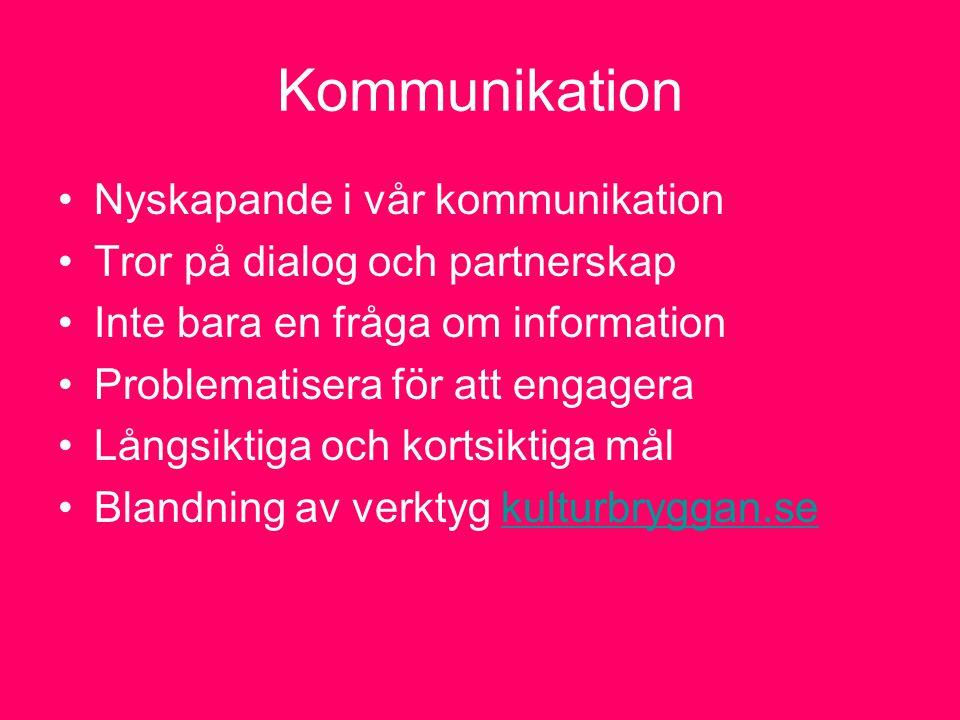 Kommunikation Nyskapande i vår kommunikation Tror på dialog och partnerskap Inte bara en fråga om information Problematisera för att engagera Långsiktiga och kortsiktiga mål Blandning av verktyg kulturbryggan.sekulturbryggan.se