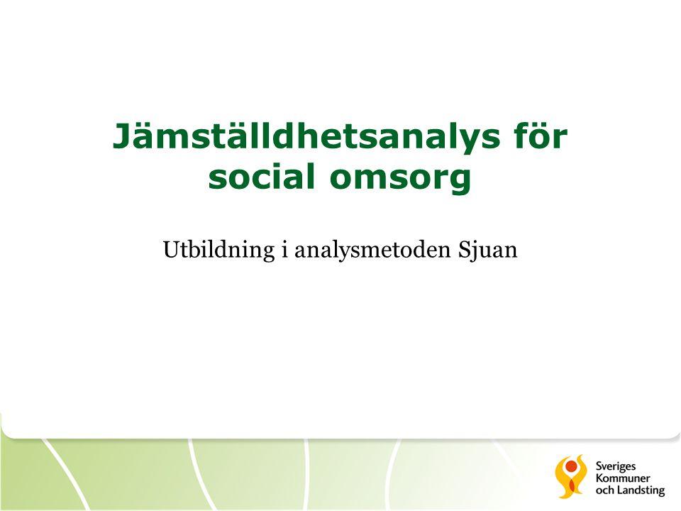 Jämställdhetsanalys för social omsorg Utbildning i analysmetoden Sjuan