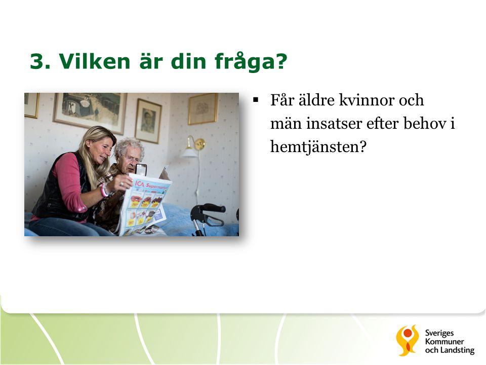 3. Vilken är din fråga  Får äldre kvinnor och män insatser efter behov i hemtjänsten
