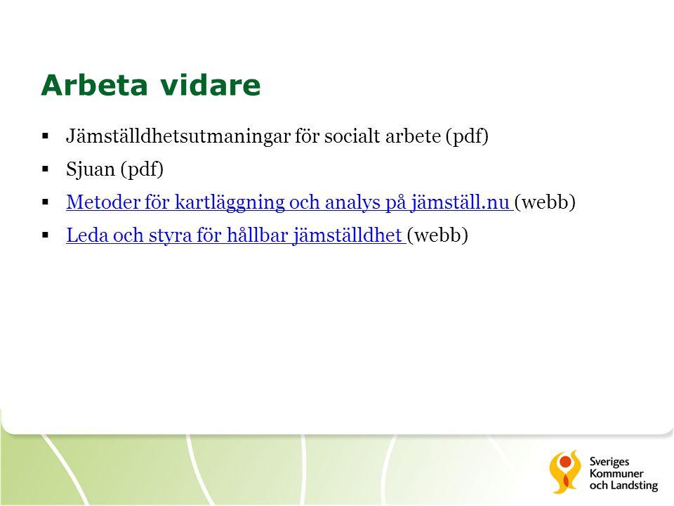 Arbeta vidare  Jämställdhetsutmaningar för socialt arbete (pdf)  Sjuan (pdf)  Metoder för kartläggning och analys på jämställ.nu (webb) Metoder för kartläggning och analys på jämställ.nu  Leda och styra för hållbar jämställdhet (webb) Leda och styra för hållbar jämställdhet