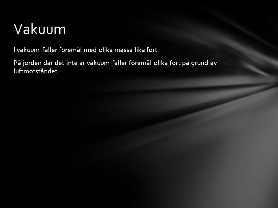I vakuum faller föremål med olika massa lika fort.