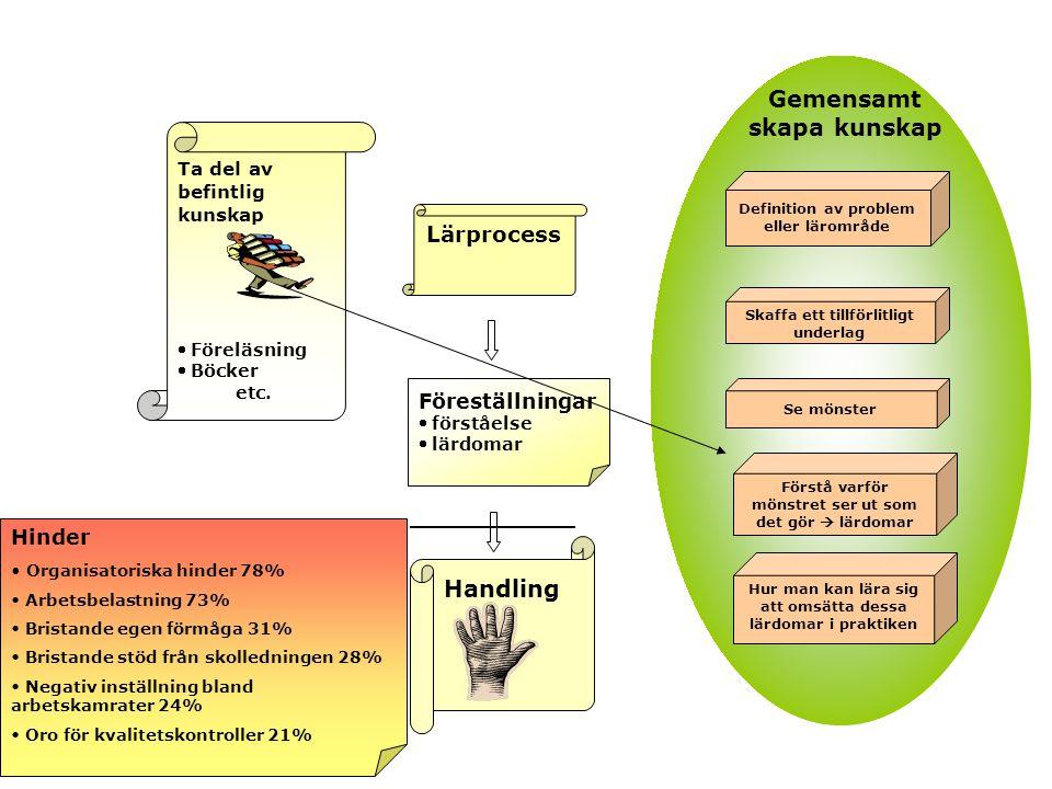 Lärprocess Handling Ta del av befintlig kunskap  Föreläsning  Böcker etc.